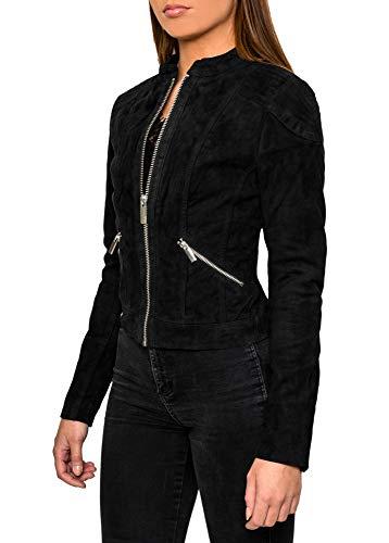 Crone Juna Damen Lederjacke Cleane Leichte Basic Wildleder Jacke aus weichem Echtleder (L, Schwarz (Wildleder))