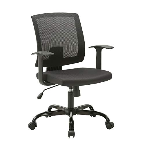 CLATINA Mid-Back Mesh Office Desk Chair with Lumbar Support and Armrest Swivel Ergonomic Task for Home Computer Black