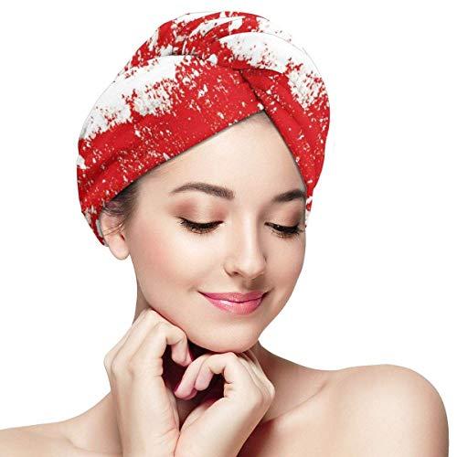 N/A Haar Handdoek Wikkel Turban Microvezel Snelle Droog Badmuts, Rode Lippenstift Mark In De vorm van een hart Expressie Passie Romance Sensualiteit Thema