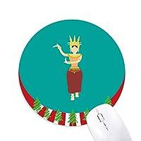 カンボジア祭 円形滑りゴムのマウスパッドクリスマス飾り