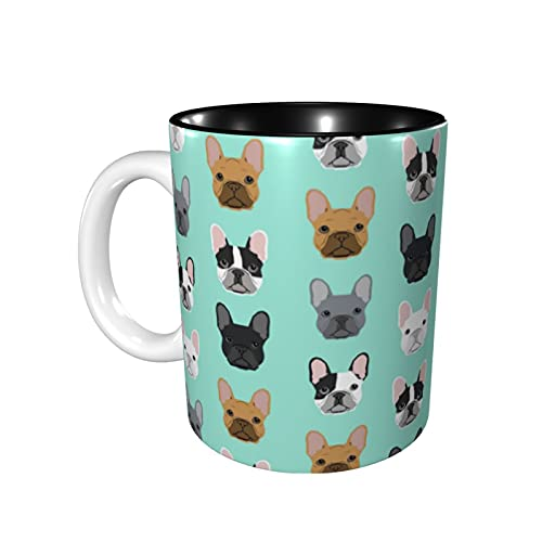 French Bulldog Sweet Dog Puppy Puppies Dog Funny Coffee Cups Ceramic Mug for Men Women Tea 11 Oz Novelty Unique Best Gifts Microwave Safe