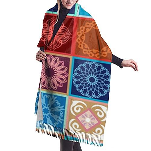 Svetlana Kononova - Pañuelo con flecos para mujer, diseño de azulejos de cerámica con patrón de imitación de cachemira de poliéster, suave y agradable a la piel, para mujer, 195,6 x 68,6 cm