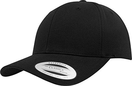 Flexfit Damen und Herren Baseball Caps Curved Classic Snapback Cap, Farbe Schwarz