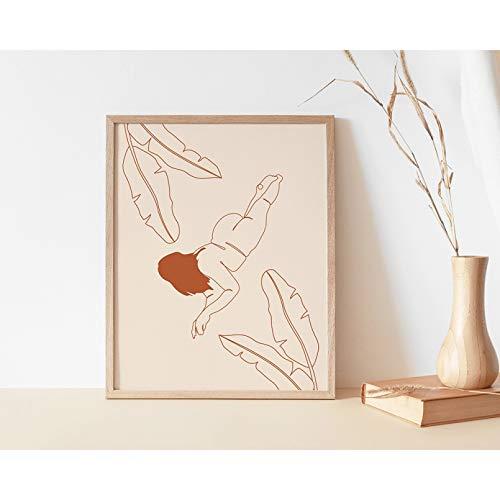 N/A Heminredning målning canvas målning tryck affisch kurviga kvinnor konsttryck online ritning kvinna konstverk tjock affisch flicka hängande blomma linje illustration bricka tryckt bild