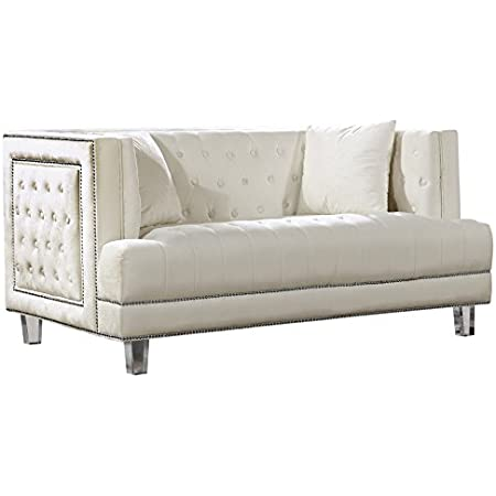 Amazon Com Meridian Furniture Lucas Collection Modern Contemporary Deep Button Tufted Velvet Upholstered Loveseat With Square Arms Nailhead Trim And Lucite Legs Cream 64 W X 35 5 D X 31 5 H Furniture