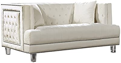 Us Pride Furniture Whetzel Chesterfield 64 Rolled Arms Loveseat Love Seats Cream Furniture Decor