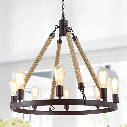LNC A02994 Vintage 8 Kitchen Island Rustic Pendant Lighting Chandeliers, Brown