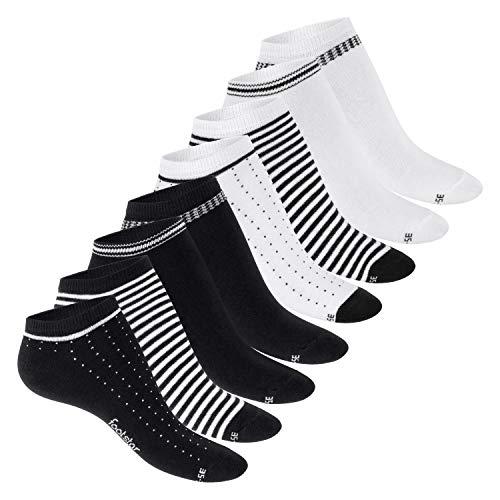 Footstar Damen Motiv Sneaker Socken (8 Paar), Kurze süße Söckchen mit Mustern - Schwarz-Weiß-Mix 35-38