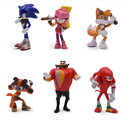 Sonic The Hedgehog Action Figures Sonic,Knuckles,Tails,Amy and the Evil Dr.Eggman.Birthday Cake Toppers, Decorations or toys for kids.