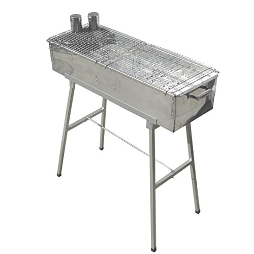 """Party Griller Yakitori Grill 32"""" x 11"""" - Portable Stainless Steel Charcoal Barbecue Grill w/ 2x Stainless Steel Mesh Grate. BBQ Kebab, Satay. Makes Juicy Shish Kebob, Shashlik, Spiedini on the Skewer"""