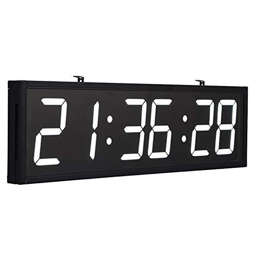 BaiTTang Reloj de Gimnasio Digital LED con Control Remoto, cronómetro, alarmas, Temporizador, Humedad y Temperatura, Reloj de Pared de Gran tamaño 27.8x7.6 Pulgadas para Oficina, hogar, Lugar público