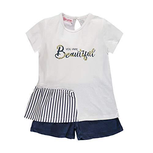 Brums - Completo Bambina Maglietta T-Shirt e Pantaloncini Shorts in Jersey - Multicolore (Bianco/Blu 01 903) - 116 (Taglia Unica: 6A)