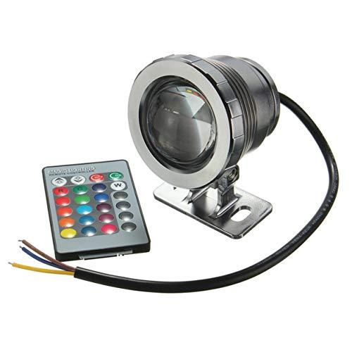 YXDS Luz LED RGB Impermeable de 10 W, Fuente de jardín, Estanque, Foco de Piscina, lámpara de luz subacuática súper Brillante con Control Remoto