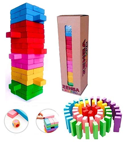 METRO TOY'S & GIFT 54 Pcs 1 Dice Challenging Color Wooden Blocks Tumbling Stacking Zenga Game for Adults and Kids