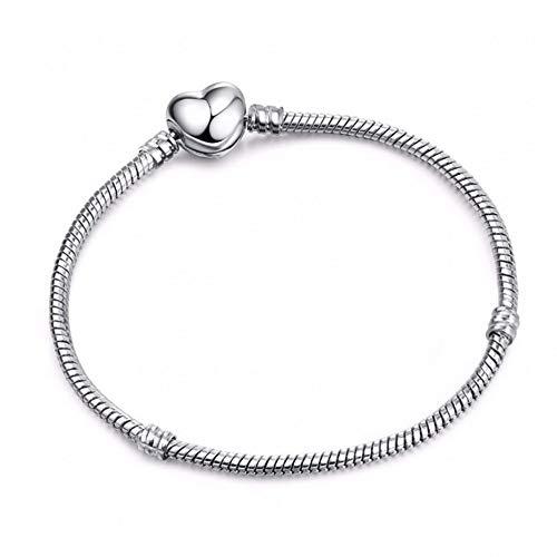 SBKJL 16-21Cm Argent Couleur Amour Serpent Chaîne Fit Original Chaîne Pandora Bracelet Charme Bricolage Perle Bracelets Fabrication De Bijoux