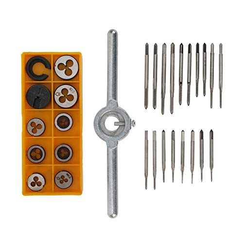 30Pcs High Speed Steel Tap Wrench Set,Tap Die Kit Thread Taper Drill Kit Manual Tapping Tool with Adjustable Wrench for Cutting Thread