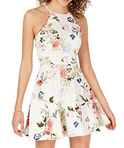 Speechless Dress Junior A-Line Floral Fit and Flare White 9