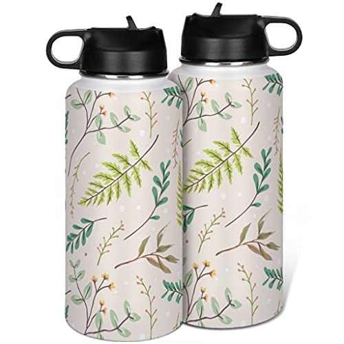 Taza termo de acero inoxidable con tapa, diseño de hojas verdes, color blanco, 1000 ml