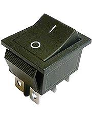 DPDT - Interruptor basculante con cierre (22 x 30 mm, 6 pines), color negro