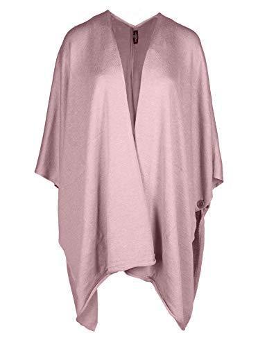 Zwillingsherz Poncho-Schal mit Baumwolle - Hochwertiges Cape für Damen - XXL Umhängetuch und Tunika mit Ärmel - Strick-Pullover - Sweatshirt - Stola für Sommer und Winter - Altrosa