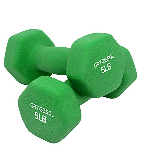 arteesol Neoprene Dumbbell Weight Pair, 1/2/3/5/8/10/12/15/20 LB, Fitness Gym Exercise for Men and Women with Non-Slip Grip, Set of 2