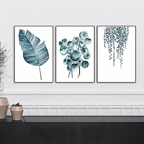 Impresión de arte de hoja botánica, póster de flor azul, arte de pared, lienzo minimalista, pintura, cuadros de pared, comedor, decoración de cocina