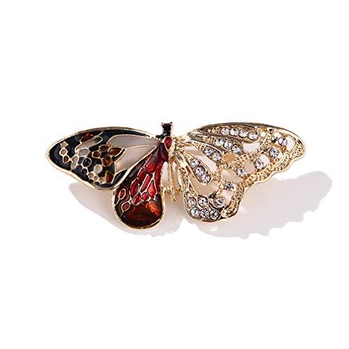 Yazilind Vintage Schmuck Große Emaille Schmetterling Strass Brosche Corsage für Hochzeit Prom Party Retro