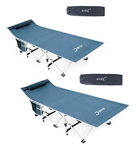 Nice C Folding Camping Cot, Sleeping Bed, Tent Cot, with Pillow, Carry Bag & Storage Bag, Extra Wide Sturdy, Heavy Duty Holds Up to 500 Lbs,...