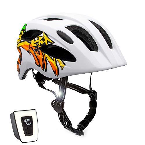 Casco de bicicleta para niños ajustable de tamaño infantil a juvenil   Tamaño 54-58   Precioso casco de bicicleta para niños y niñas   Luz LED incorporada recargable   Homologado por la CE