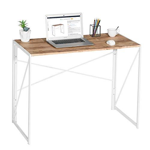 Folding Computer Desk No-Assembly Simple Study Desk Writing Table Home Office Desk 100 x 50 x 75cm, Oak & White