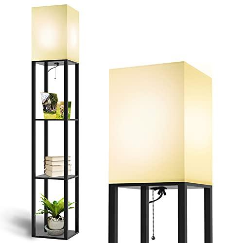 MOFFE Column Floor Lamp with Shelves, Modern Shelf Floor Lamp with 9W LED Bulb, 3 Tier Storage Display Standing Reading Lamp Narrow Corner Nightstand Light for Bedroom Living Room, Black