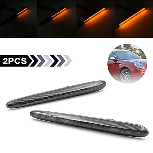 Indicatore laterale dinamico indicatore di direzione luce laterale impostato che scorre Ambra Segnale di Girata Fumo lente compatibile con 2010-2020 Alfa Romeo Giulietta Hatchback tipo 940
