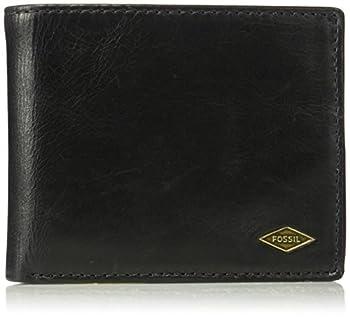 Fossil Men s Ryan Leather RFID-Blocking Bifold with Flip ID Wallet Black
