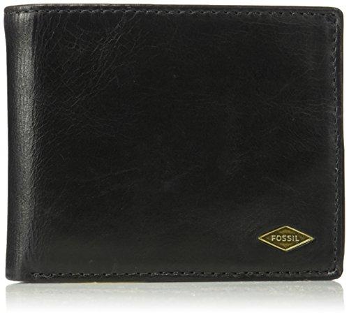 Fossil Men's Ryan Leather RFID-Blocking Bifold with Flip ID Wallet, Black