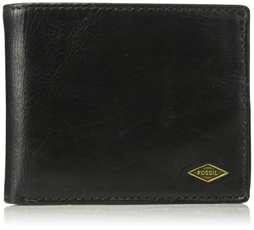 Fossil Men's Ryan Leather RFID blocking Bifold Wallet, Black