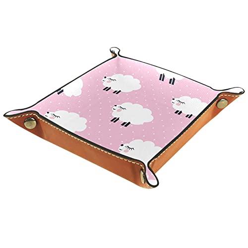 Valigia per cameriere, vassoio in pelle PU, vassoio per chiavi da uomo, donna e gioielli, vassoio per chiavi, portamonete, portafogli, con pecore cartoni animati su sfondo rosa 16 x 16 cm
