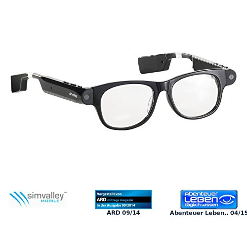 simvalley MOBILE Brille, Bluetooth: Smart Glasses SG-101.bt mit Bluetooth und 720p HD (Brillenkamera)