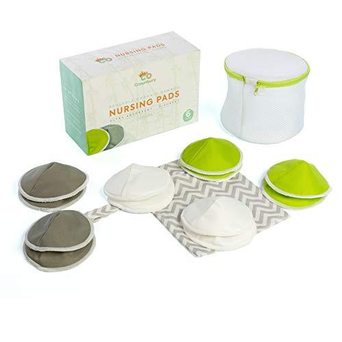 Reusable Organic Bamboo Nursing Pads | 12 Pack / 6 Pairs (12.5cm) |Washable...