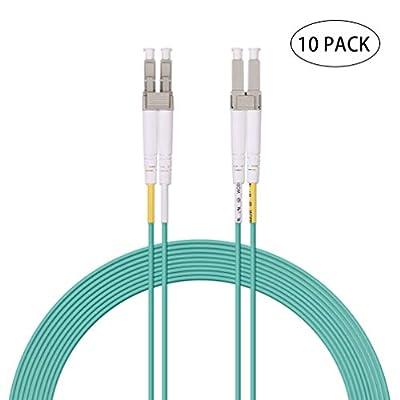 Fiber Patch Cable - LC to LC OM3 10Gb/Gigabit Multi-Mode Duplex 50/125 LSZH Fiber Optic Cord for SFP Transceiver, Computer Fiber Networks and Fiber Test Equipment, 2-Meter(6.5ft, 10-Pack)