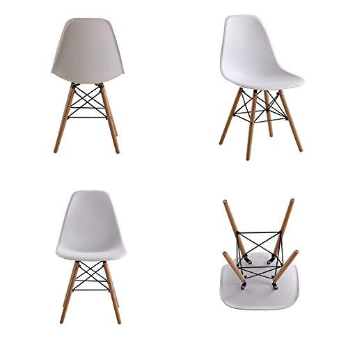 Comfortableplus Pack de 4 sillas de Comedor Retro Asiento de plástico y Las piernas de Madera para el Comedor Cocina-Blanco