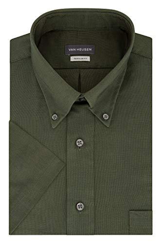 Van Heusen Men Short-Sleeve Wrinkle-Resistant Oxford Dark Green - Large