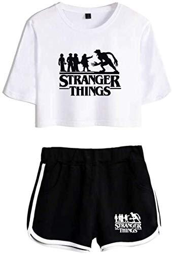 VERROL Stranger Things Magliette Tumblr Ragazza, Stranger Things 3 Crop Top T-Shirt e Shorts, Estate Donna Manica Corta Maglietta Casual Girocollo Stampa Estiva Top Pullover