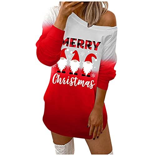Robe de Noël à épaules dénudées - Robe sexy à manches longues - Pull de Noël imprimé de Noël - Décontractée - Pour un cocktail ou une fête., Rot4., XL