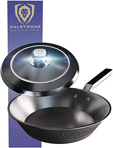 Dalstrong Frying Pan Skillet - 10  (2.1 QT) - Premium Cookware - The Avalon Series - 5-Ply Copper Core - Hammered Finish - Black - w Lid & Pot Protector
