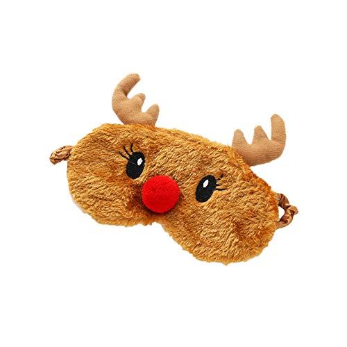 Nowbetter Weihnachtliche Elch-Augenmaske, weicher Plüsch, Augenschutz, Reise, Mittagspause, Verdunkelung, Schlafmasken für Frauen und Kinder, 19 x 9 cm – Style1