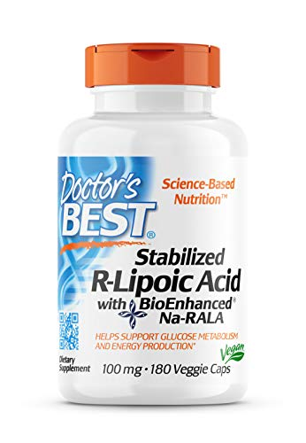 Doctor's Best Stabilized R-Lipoic Acid with BioEnhanced Na-RALA, Non-GMO, Gluten Free, Vegan, Helps Maintain Blood Sugar Levels, 100 mg, 180 Count