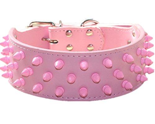 haoyueer Collares de piel para perros de 5 cm de ancho, color rosa fresco con tachuelas para perros medianos y grandes, Pit Bull Mastín Bully Boxer (L, rosa)