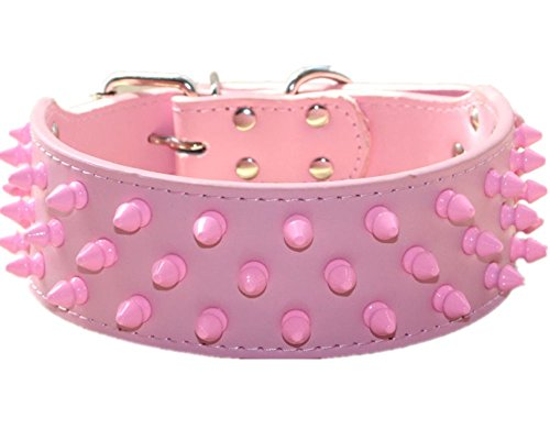 Haoyueer, collare per cani in pelle, larghezza 5,1 cm, colore rosa freddo con borchie a spillo per cani di taglia media e grande, pugile Pit Bull Mastiff Bull, rosa