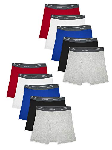 Fruit of the Loom Boys' Big Boxer Briefs (Assorted Colors), Traditional Fly-10 Pack-Solids, X-Large