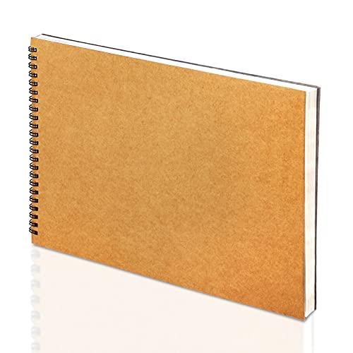 Mamowla Sketchbook A4 Bloc Dibujo, Encuadernado en Espiral Cuaderno Dibujo Para Niños Adultos con Tablero Duro Duradero, 120GSM Cuaderno Dibujo con Libre de ácido Bloc de Dibujo 60 Páginas